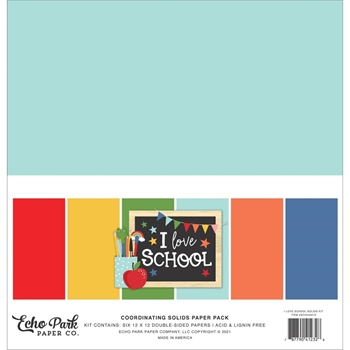 Echo Park I LOVE SCHOOL 12 x 12 Solids Paper Pack sch243015