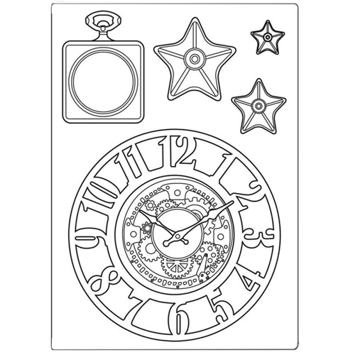Stamperia SIR VAGABOND CLOCKS AND STARS Silicone Mold kacm07 Preview Image