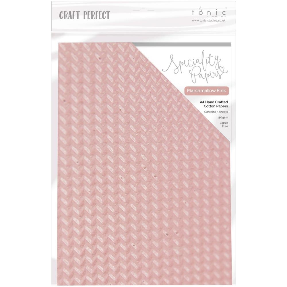 Tonic PINK MARSHMALLOW Hand Crafted Embossed Cotton A4 Paper Pack 9891e zoom image
