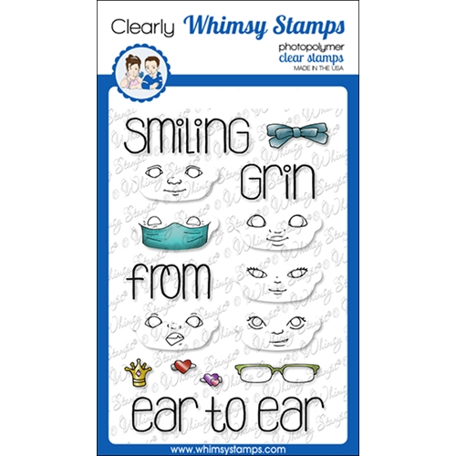 Whimsy Stamps POLKA DOT PALS FACES Clear Stamps BS1026 Preview Image
