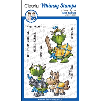 Whimsy Stamps KNIGHT DRAGON Clear Stamps DP1063