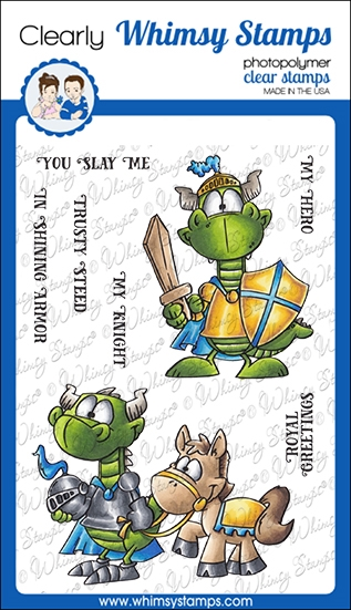 Whimsy Stamps KNIGHT DRAGON Clear Stamps DP1063 zoom image