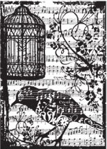 Tim Holtz Cling Rubber ATC Stamp BIRDSONG Stampers Anonynmous COM033  Preview Image