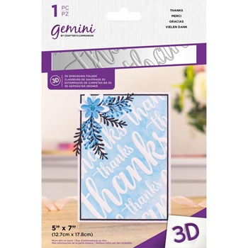 Gemini THANKS 3D Embossing Folder gemef3dthan