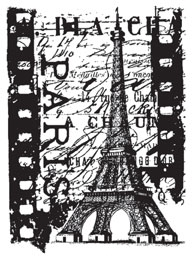 Tim Holtz Cling Rubber ATC Stamp PARIS FILM COM035