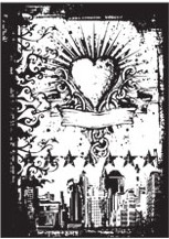 Tim Holtz Cling Rubber ATC Stamp URBAN TATTOO Stampers Anonymous com036 zoom image