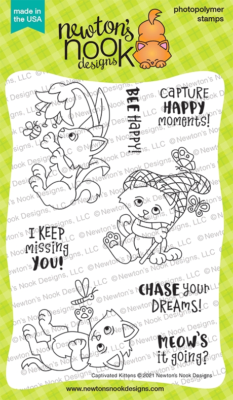 Newton's Nook Designs CAPTIVATED KITTENS Clear Stamps NN2104S01 zoom image