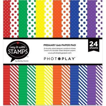 PhotoPlay PRIMARY DOTS AND STRIPES 6 x 6 Paper Pad sis2715