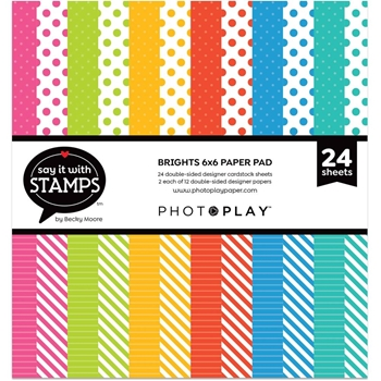 PhotoPlay BRIGHTS DOTS AND STRIPES 6 x 6 Paper Pad sis2716