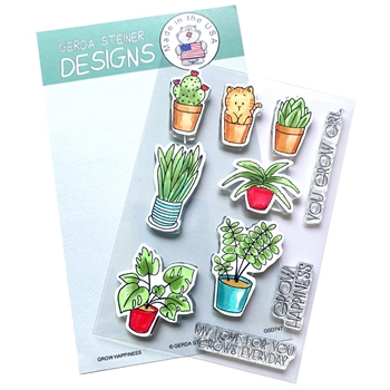 Gerda Steiner Designs GROW HAPPINESS Clear Stamp Set gsd747
