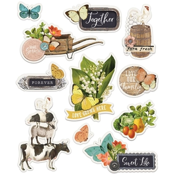 Simple Stories FARMHOUSE GARDEN Layered Stickers 15026