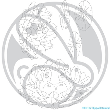 The Rabbit Hole Designs HIPPO BOTANICAL Clear Stamps TRH 102