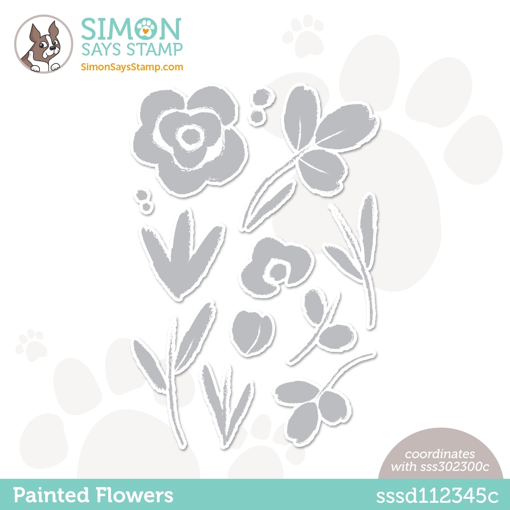 Simon Says Stamp PAINTED FLOWERS Wafer Dies sssd112345c Born To Sparkle zoom image