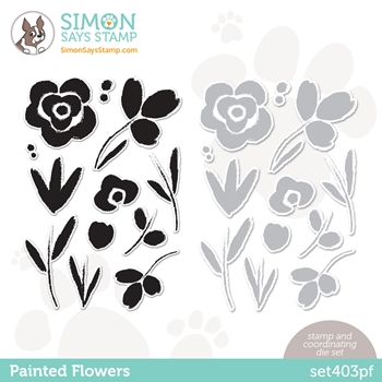 Simon Says Stamps and Dies PAINTED FLOWERS set403pf Born To Sparkle