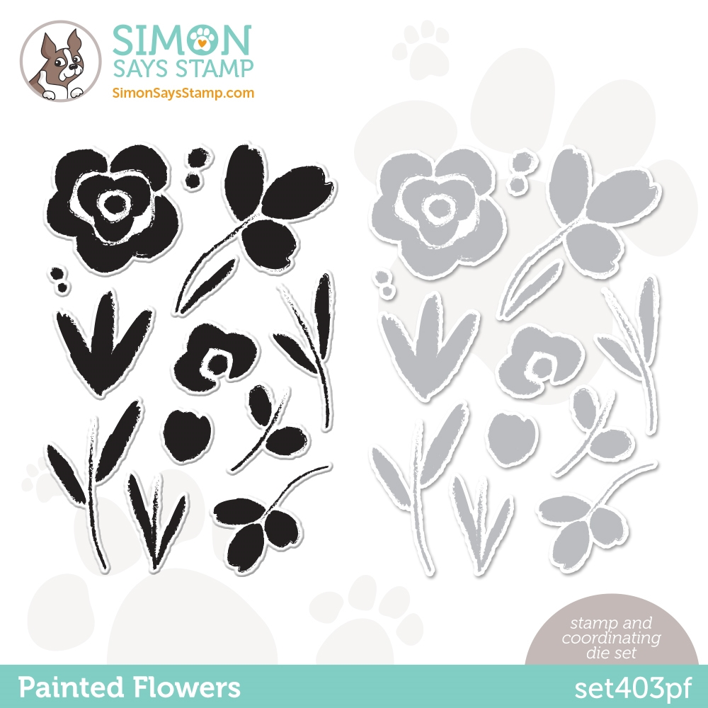 Simon Says Stamps and Dies PAINTED FLOWERS set403pf Born To Sparkle zoom image