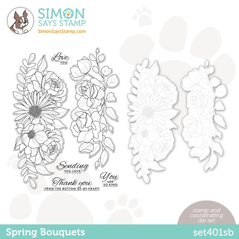 Simon Says Stamps and Dies SPRING BOUQUETS set401sb Born To Sparkle zoom image