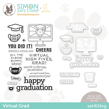 CZ Design Stamps and Dies VIRTUAL GRAD set404vg Born To Sparkle