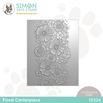 Simon Says Stamp Embossing Folder FLORAL CENTERPIECE sf224 Born To Sparkle