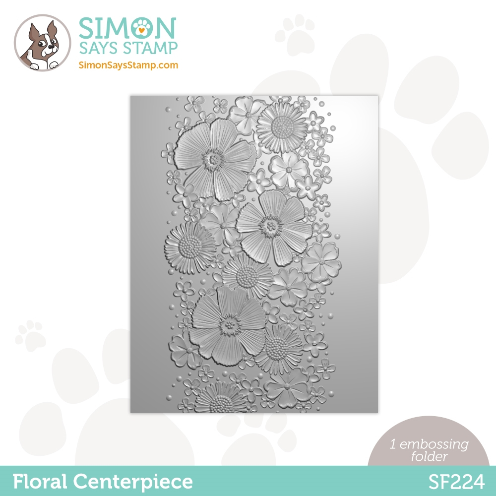 Simon Says Stamp Embossing Folder FLORAL CENTERPIECE sf224 Born To Sparkle zoom image