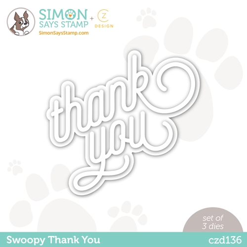 RESERVE CZ Design Wafer Dies SWOOPY THANK YOU czd136 Born To Sparkle Preview Image