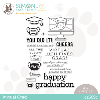 CZ Design Clear Stamps VIRTUAL GRAD cz369c Born To Sparkle