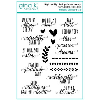 Gina K Designs INCREDIBLY GRATEFUL Clear Stamps bs39c