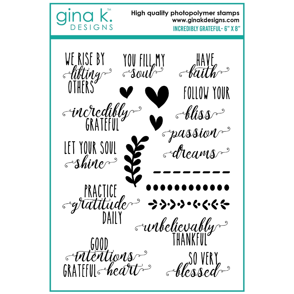Gina K Designs INCREDIBLY GRATEFUL Clear Stamps bs39c zoom image