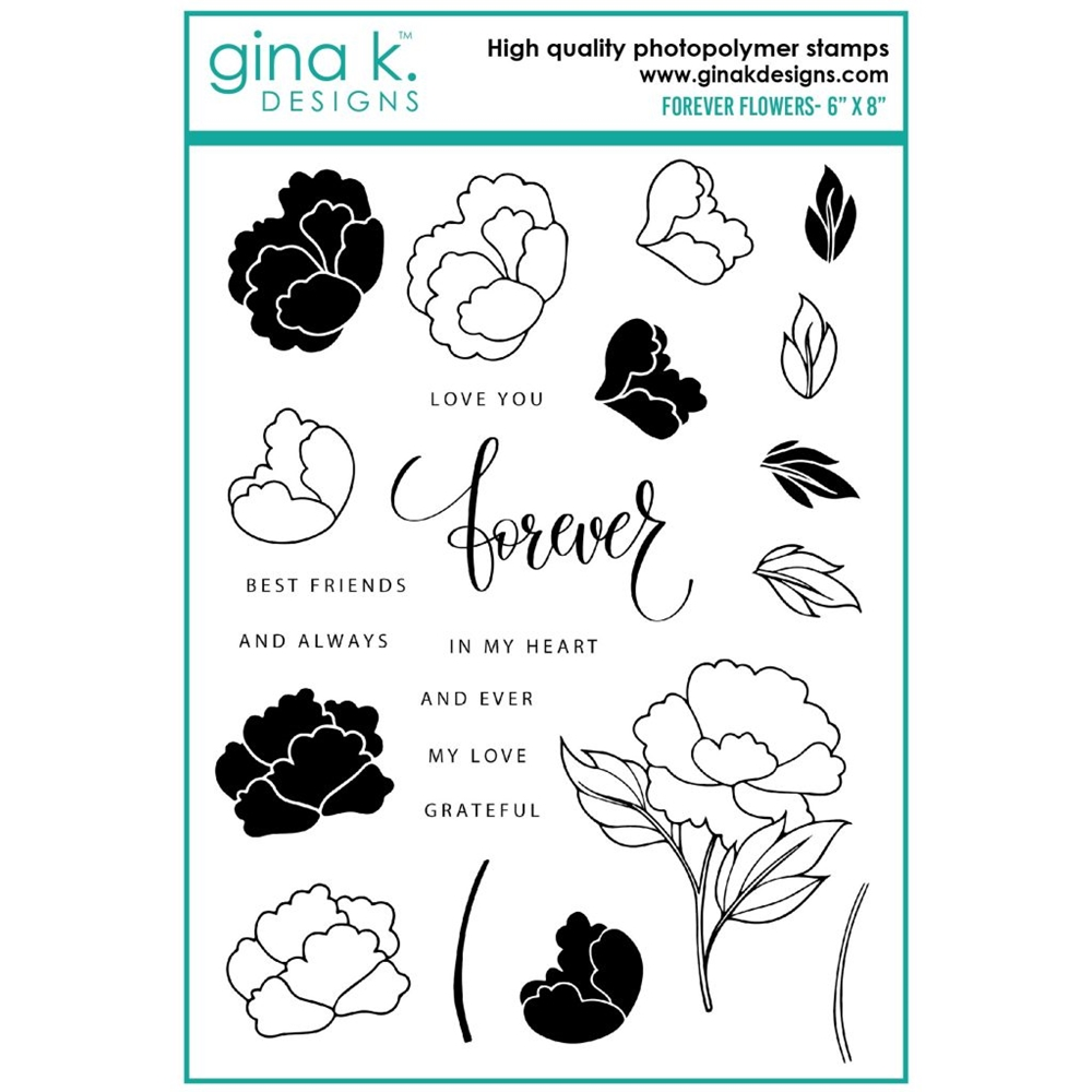 Gina K Designs FOREVER FLOWERS Clear Stamps ak18 zoom image