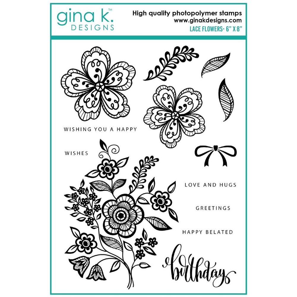 Gina K Designs LACE FLOWERS Clear Stamps gkd0103 zoom image