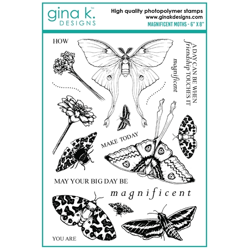 Gina K Designs MAGNIFICENT MOTHS Clear Stamps mm101 Preview Image