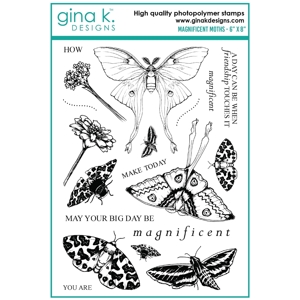 Gina K Designs MAGNIFICENT MOTHS Clear Stamps mm101 zoom image