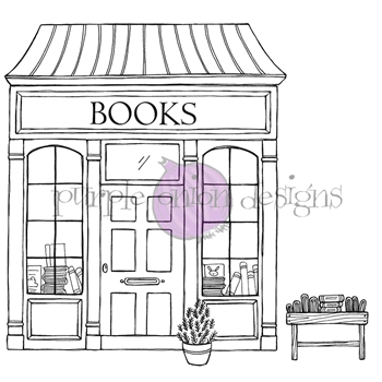 Purple Onion Designs BOOKSTORE AND BOOK RACK Cling Stamp pod1215
