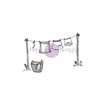 Purple Onion Designs CLOTHESLINE Cling Stamp pod1221