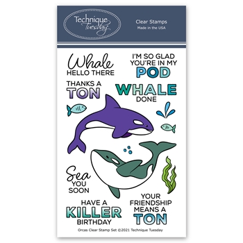 Technique Tuesday ORCAS Clear Stamps orcas