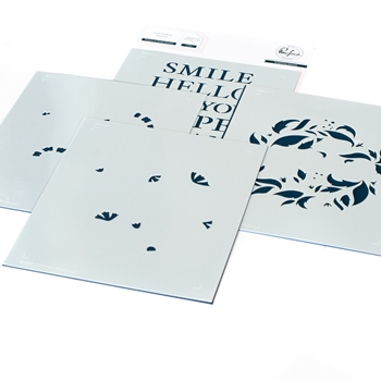 PinkFresh Studio REASON TO SMILE WREATH Stencil Set 114421