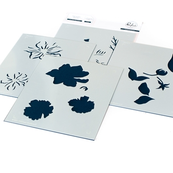 PinkFresh Studio IT'S A NEW DAY FLORAL Stencil Set 114721