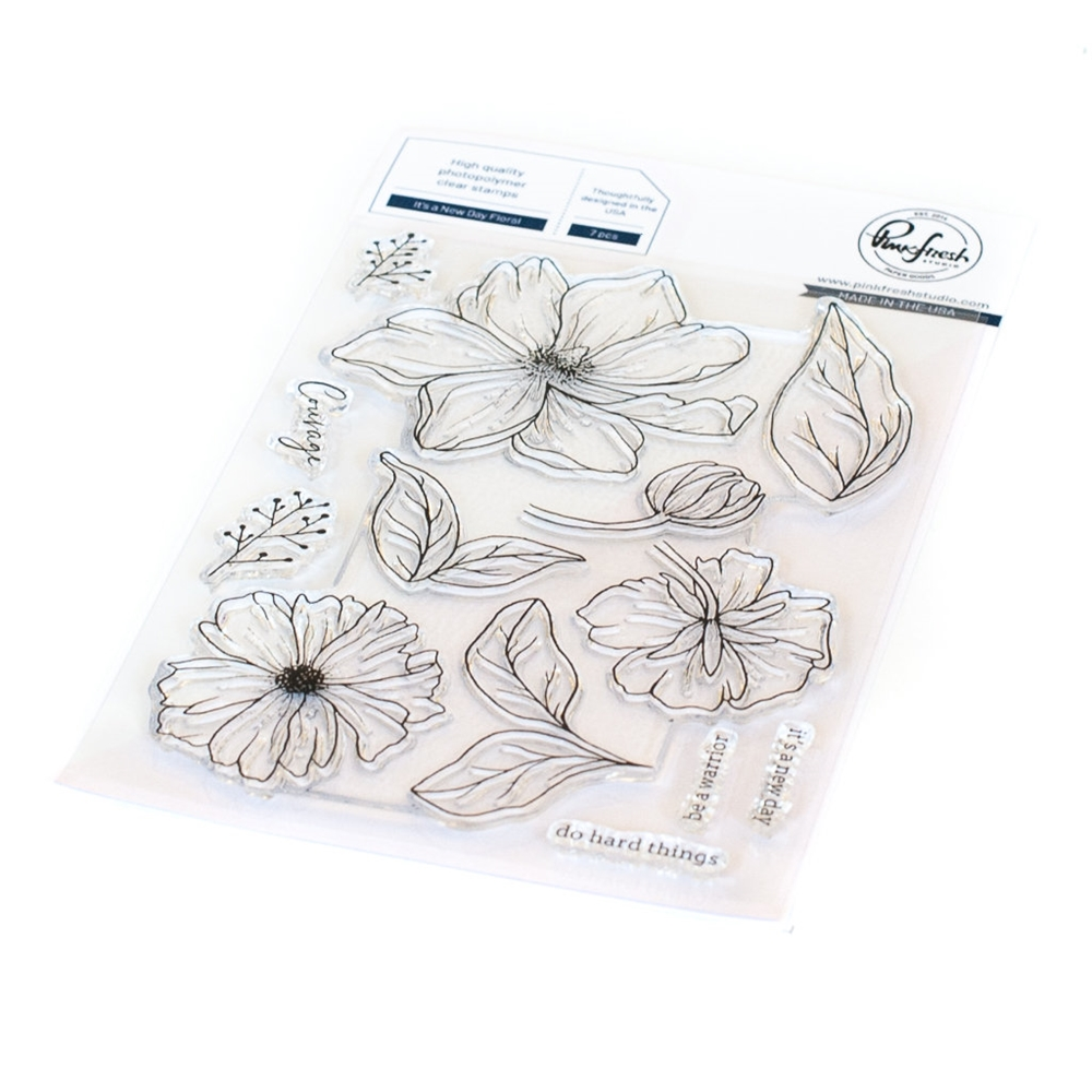 PinkFresh Studio IT'S A NEW DAY FLORAL Clear Stamp Set 114521 zoom image