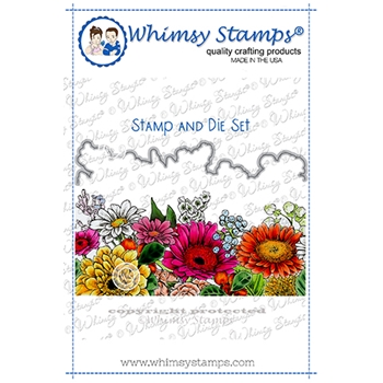 Whimsy Stamps GERBER DAISY Cling Stamp and Die Set DDB0011a