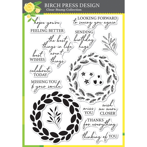 Birch Press Design CLASSIC SENTIMENTAL WREATH Clear Stamp Set cl8157* Preview Image