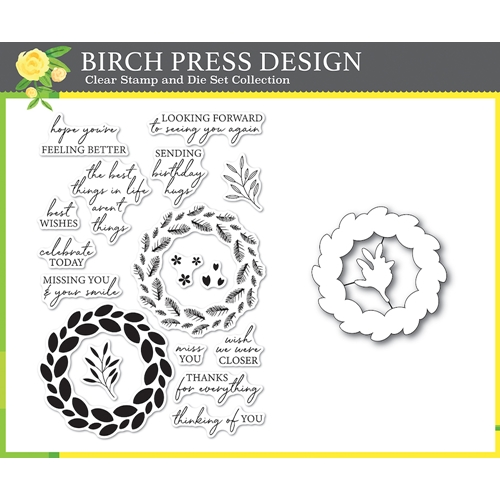Birch Press Design CLASSIC SENTIMENTAL WREATH Clear Stamp and Die Set 8157* Preview Image