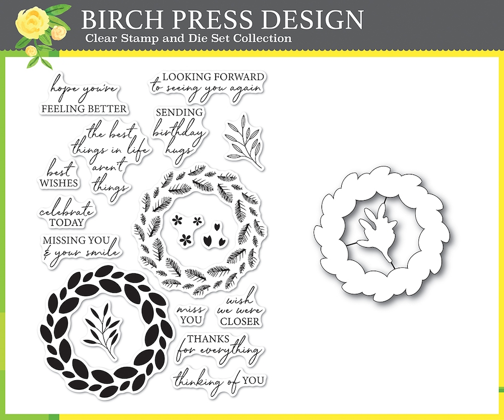 Birch Press Design CLASSIC SENTIMENTAL WREATH Clear Stamp and Die Set 8157* zoom image