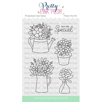 Pretty Pink Posh FLOWER BOUQUET Clear Stamps