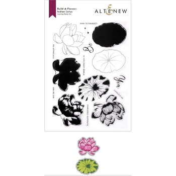 Altenew Build a Flower INDIAN LOTUS Clear Stamp and Die Bundle ALT6079