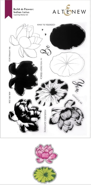 Altenew Build a Flower INDIAN LOTUS Clear Stamp and Die Bundle ALT6079 zoom image