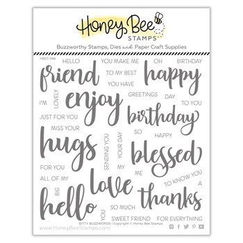 Honey Bee BITTY BUZZWORDS Clear Stamp Set hbst346 **