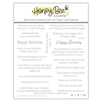 Honey Bee INSIDE BIRTHDAY SENTIMENTS Clear Stamp Set hbst331