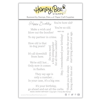Honey Bee INSIDE SNARKY BIRTHDAY SENTIMENTS Clear Stamp Set hbst332