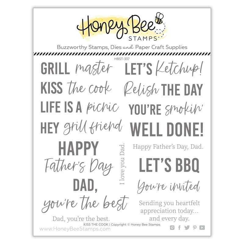 Honey Bee KISS THE COOK Clear Stamp Set hbst337 zoom image