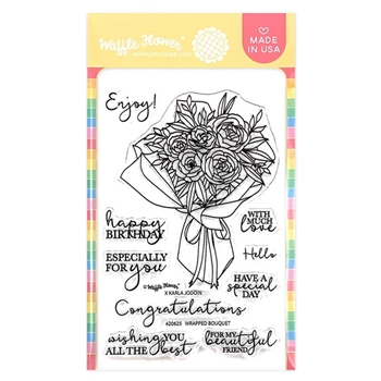 Waffle Flower WRAPPED BOUQUET Clear Stamps 420625