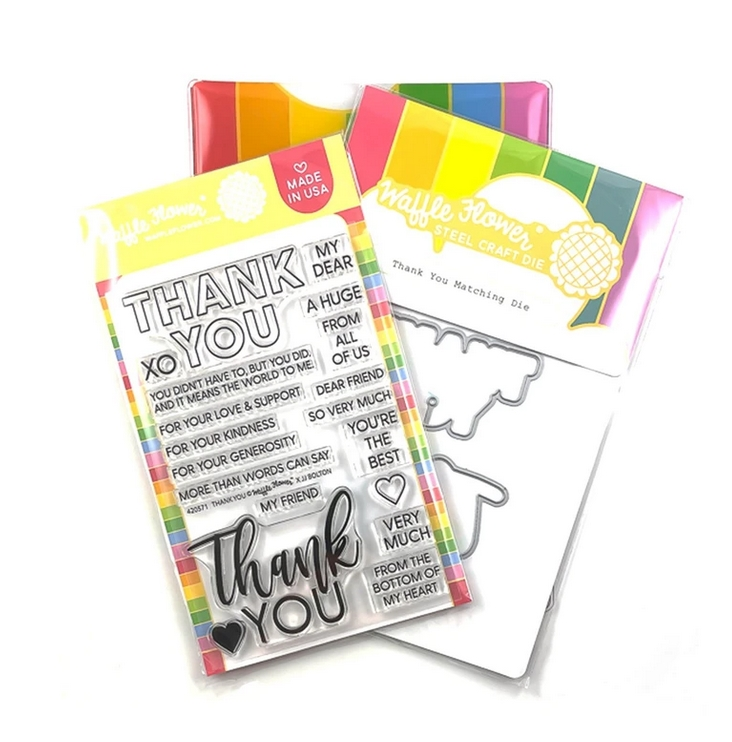 Waffle Flower THANK YOU Clear Stamp and Die Combo WFC571 zoom image